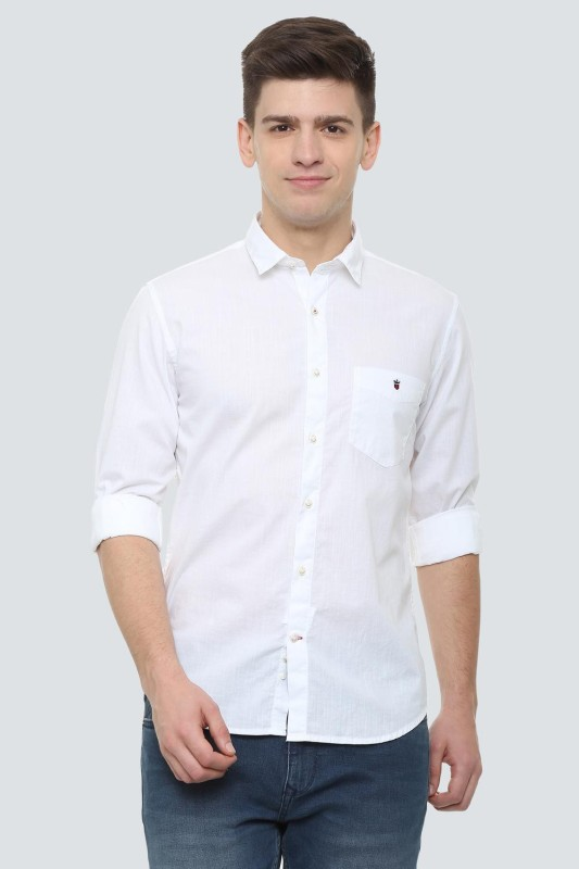 Louis Philippe Men Solid Casual White Shirt