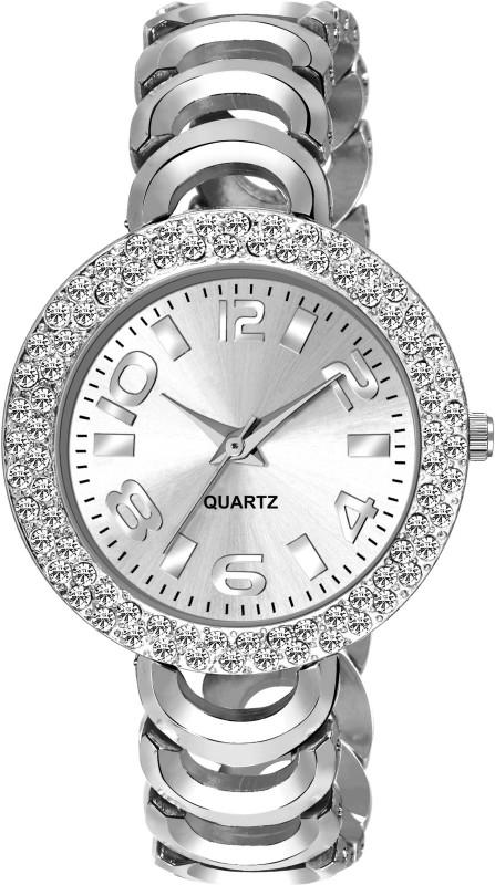 NESROR Silver Designer Dial Diamond Case Fancy Attractive Strap Analog Watch  - For Women