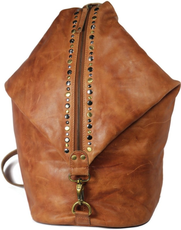 Leatherman Fashion brass antique metal leather rucksack Backpack(Tan, 3 L)