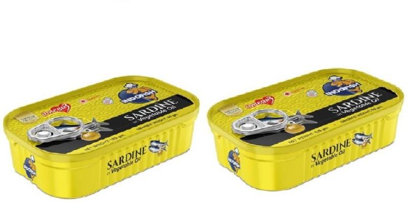 Indofish Sardine in Vegetable Oil, Each 125gm (Pack of 2) Sea Foods(250 g, Pack of 2)