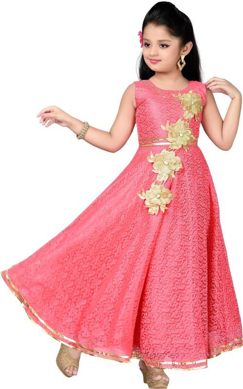 Aarika Girls Maxi/Full Length Party Dress(Red, Sleeveless)
