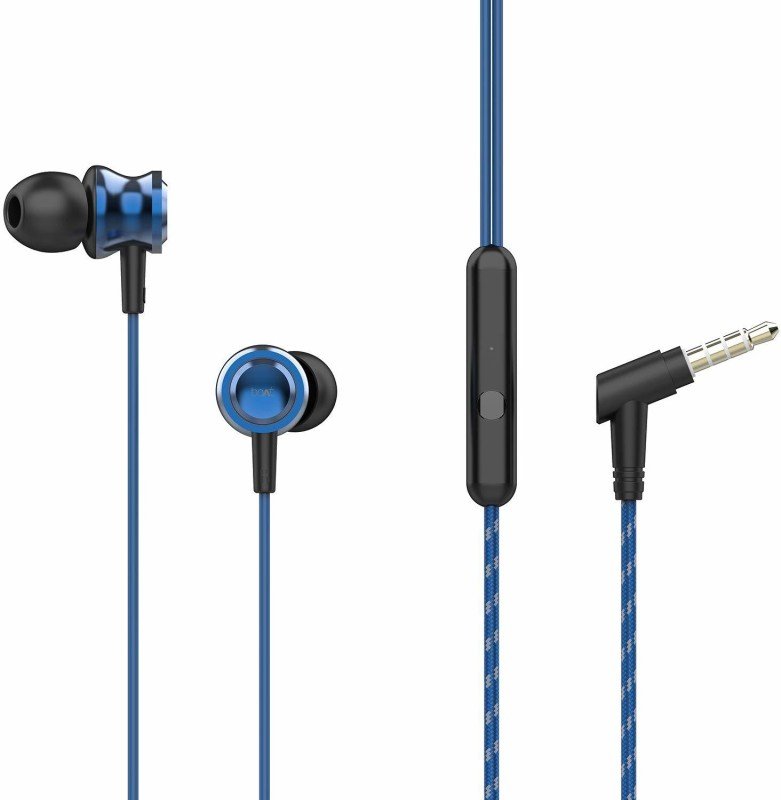 boAt BassHeads 152 with HD Sound, in-line mic, Wired Headset with Mic(Blue, Black, In the Ear)