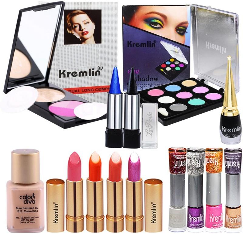 Kremlin Beauty Product Compact, Eyeshadow, 4 Shade Lipstick, Nail Paint(Pack of 14)