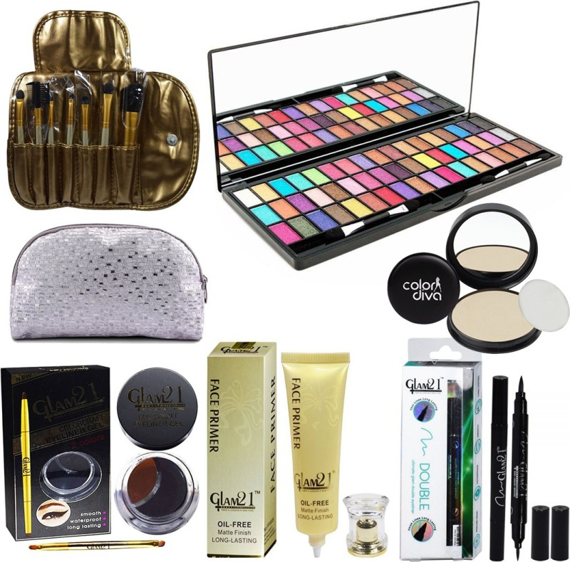 Glam 21 Long Lasting 52 Color Eyeshadow With Beauty Product & Accessary(Pack of 7)