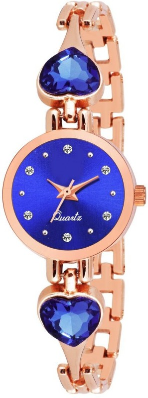 Tmeter New Bangle Rose Gold Blue Stone & Crystal Studded Party Wear Metel Bracelet Watch NW-884 Analog Watch  - For Women