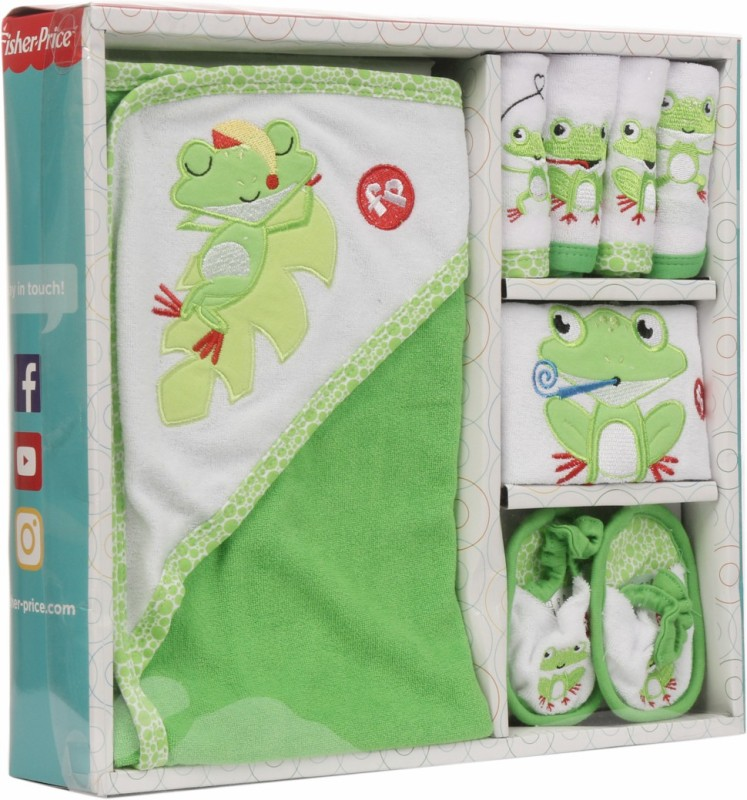 Fisher-Price Fisher Price Baby Bath Set Pack of 7 Green (Frog)(Green)