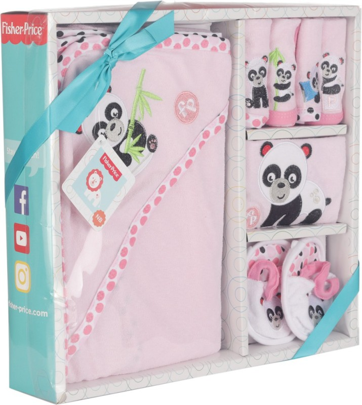 Fisher-Price Fisher Price Baby Bath Set Pack of 7 Pink (Panda)(Pink)