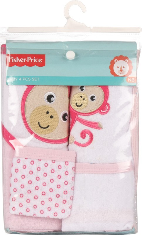 Fisher-Price Fisher Price Baby Bath Set Pack of 4 Pink (Monkey)(Pink)