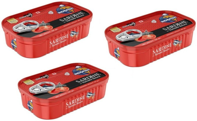 Indofish Sardine in Tomato Sauce, Each 125gm (Pack of 3) Sea Foods(375 g, Pack of 3)