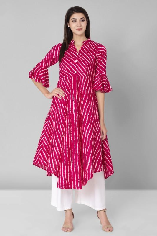 AANIA Casual Printed Women Kurti(Pink)