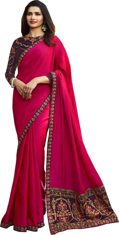 APM Royal Solid Bollywood Georgette, Pure Georgette, Poly Georgette, Pure Silk, Art Silk, Chiffon, Poly Silk Saree(Pink)
