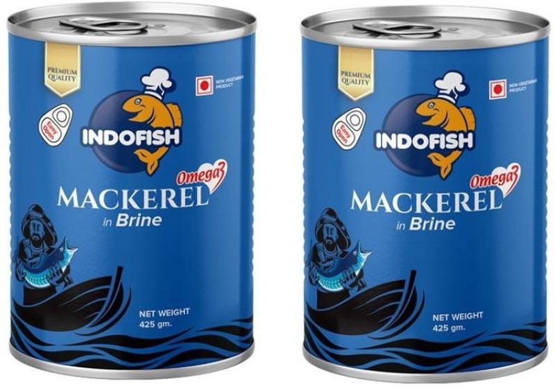 Indofish Mackerel in Brine, Each 425g Sea Foods(850 g, Pack of 2)