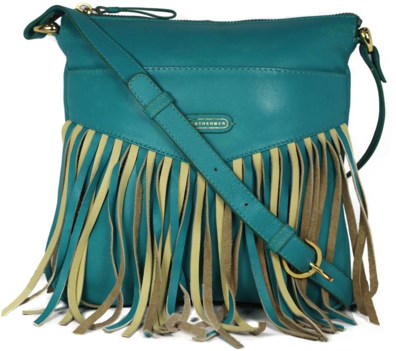 Leatherman Fashion Frill Style Turquoise Sling Bag Multipurpose Bag(Dark Green, 2 L)