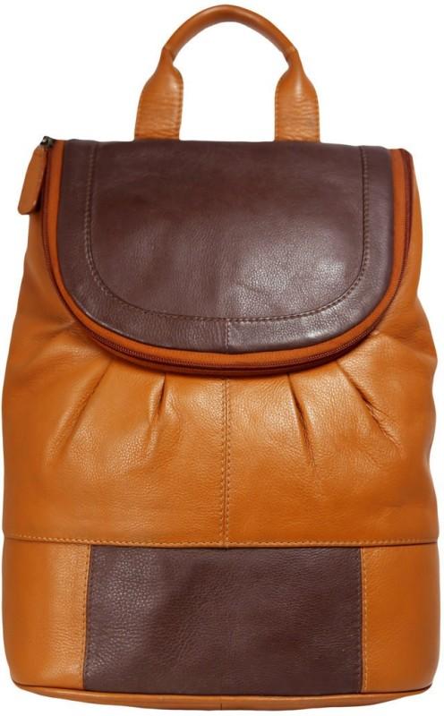 Leatherman Fashion Brown Beige Men's Leather Backpack 2 L Backpack(Brown, Beige)