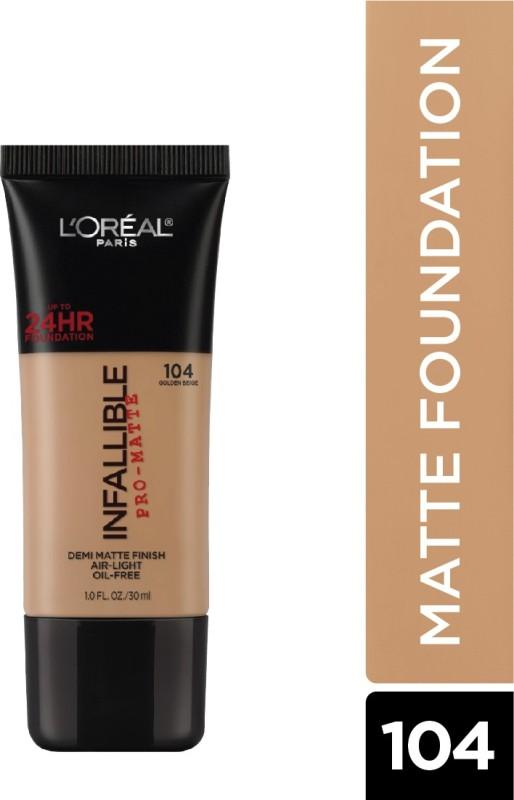 L'Oreal Paris Infallible Pro-Matte Foundation(Golden Beige 104, 30 ml)
