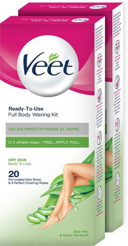 Veet Dry Skin Full Body Waxing Kit Strips(40 Strips, Set of 2)