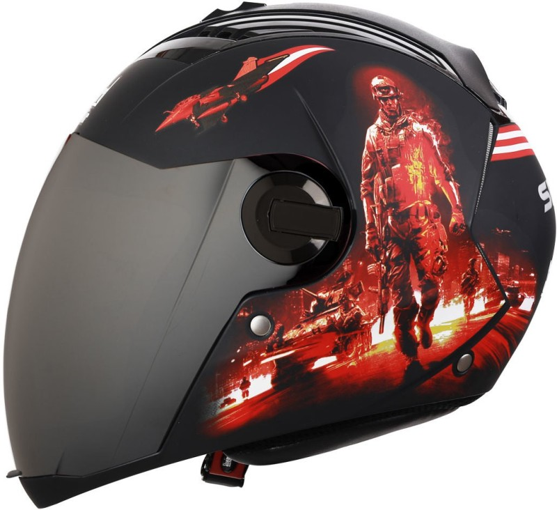 Steelbird SBA-2 Seal Matt Black Red With Silver Visor Motorbike Helmet(Matt Black Red With Silver Visor)