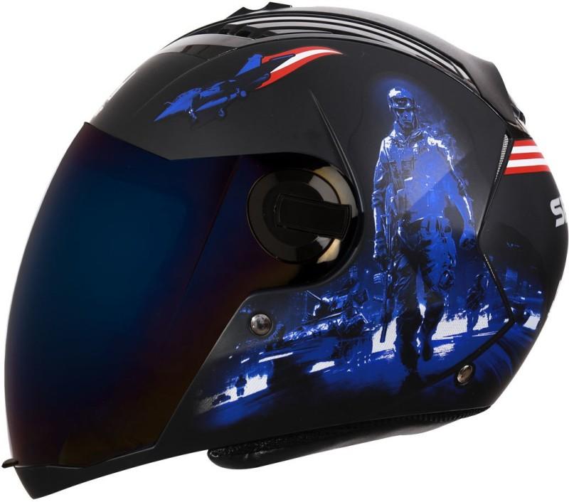 Steelbird SBA-2 Seal Matt Black Blue With Blue Visor Motorbike Helmet(Matt Black Blue With Blue Visor)