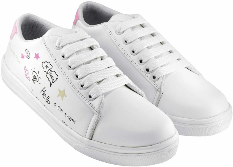 HASTEN Women's/Ladies/Female/Girls Trendy Fashionable Lightweight Comfortable Partywear, Casual wear Lace-Up Shoes Sneakers For Women(White, Pink) Sneakers For Women(White)