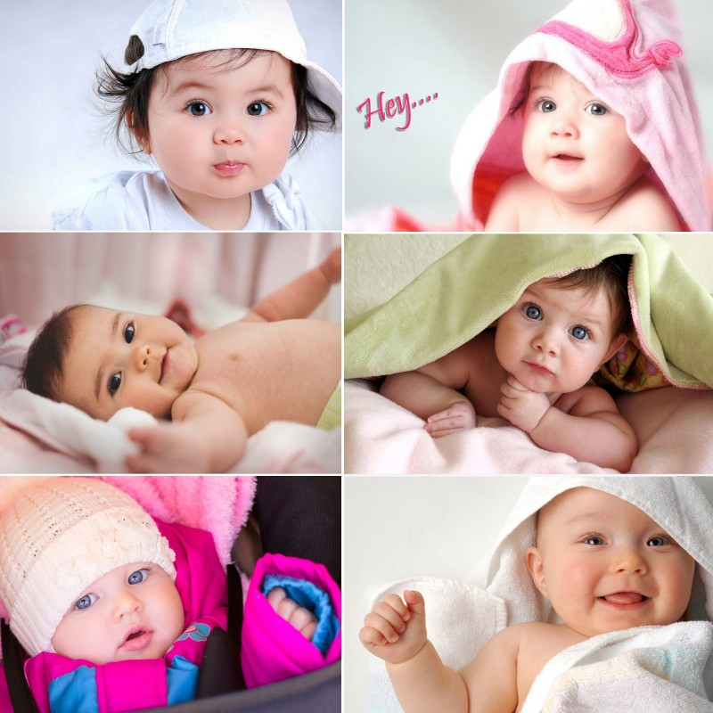 Baby Set of 6 Cute Baby Combo Posters Paper Print(18 inch X 12 inch)