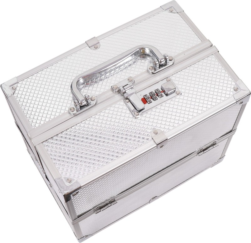 Honbon AMAZON WOODS Metal Hard Sided Luggage Cosmetic Cases (Silver) Multi Purpose Vanity Box(Silver)