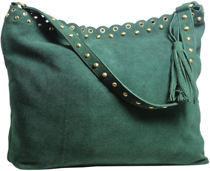 Leatherman Fashion Green Leather Hobo For Girls Multipurpose Bag(Dark Green, 2 L)