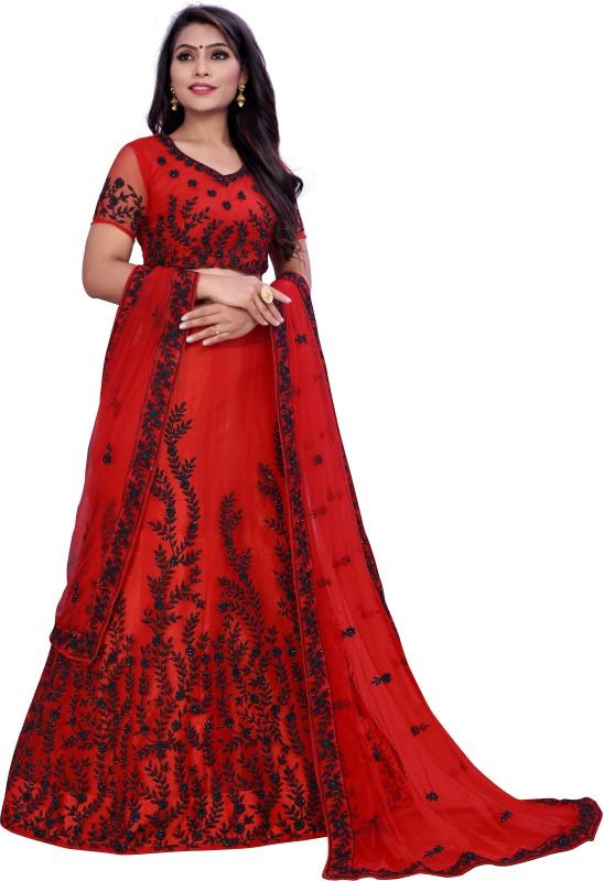 Zaalima Fashion Embroidered Semi Stitched Lehenga, Choli and Dupatta Set(Red)