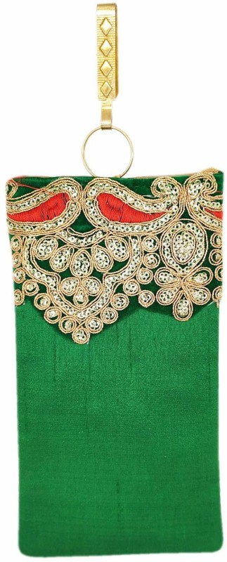 Bagaholics Ethnic Raw Silk Saree Clutch Mobile Cover Mobile Pouch Waist Clip Mobile Pouch(Green)