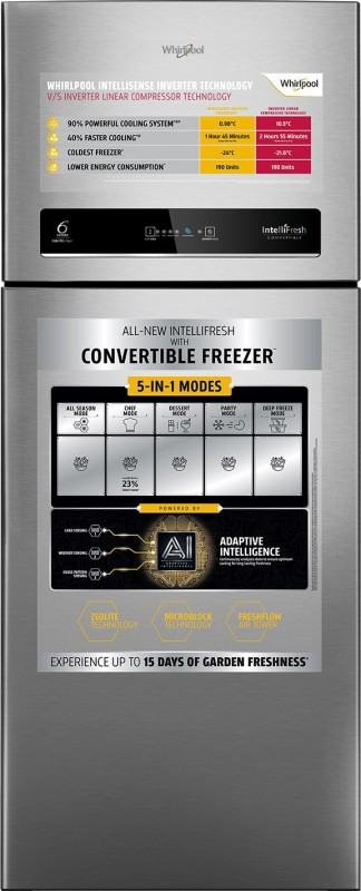 Whirlpool 265 L Frost Free Double Door 4 Star Convertible Refrigerator(Magnum Steel, IF INV CNV 278 ELT MAGNUM STEEL (4S))