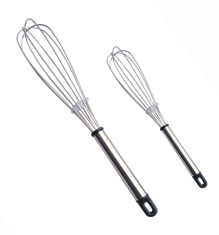 Amicus Chef's Kitchen Hand Blender / Whisker / Beater For Lassi, Milk, Coffee, Egg Beater Mixer 11 & 8 Inch Stainless Steel Balloon Whisk(Pack of 2)