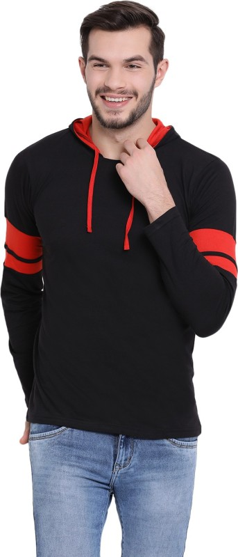 Vimal Jonney Solid Men Hooded Neck Black T-Shirt