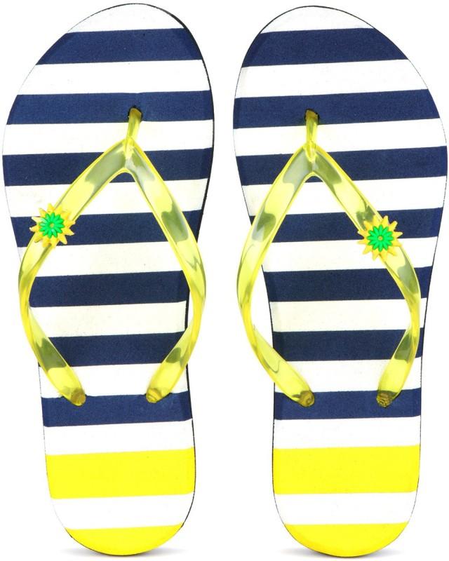 PKKART Womens Comfort Block Stylish Trending Dark Blue Yellow and White slippers with transparent strap Flip Flops