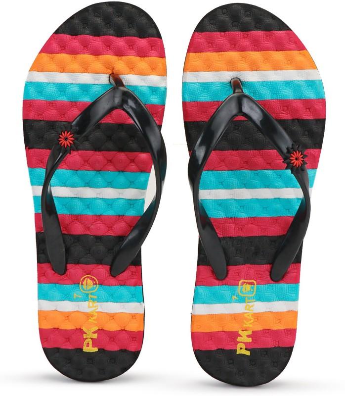 PKKART Womens Comfort Block Stylish Trending Black slippers with Rubber strap Flip Flops