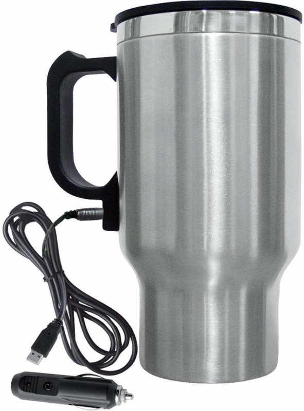 BEMALL Car Charging Electric Kettle Stainless Steel Travel Coffee Mug Cup Heated Thermos Electric Kettle(1.8 L, Silver)