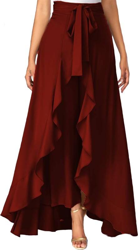 Emeros Solid Women Flared Maroon Skirt