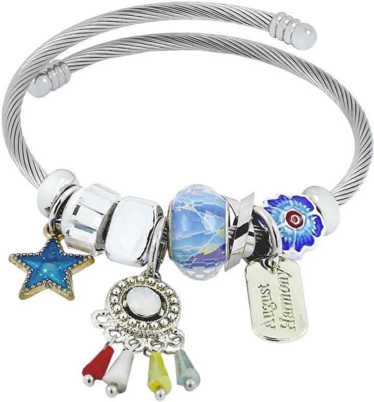 ZIVOM Brass Crystal Rhodium Charm Bracelet