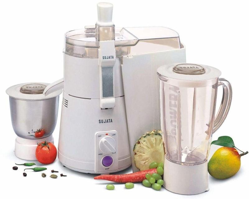 SUJATA Juicer Mixer Grinder POWERMATIC PLUS 900 Juicer Mixer Grinder(White, 2 Jars)