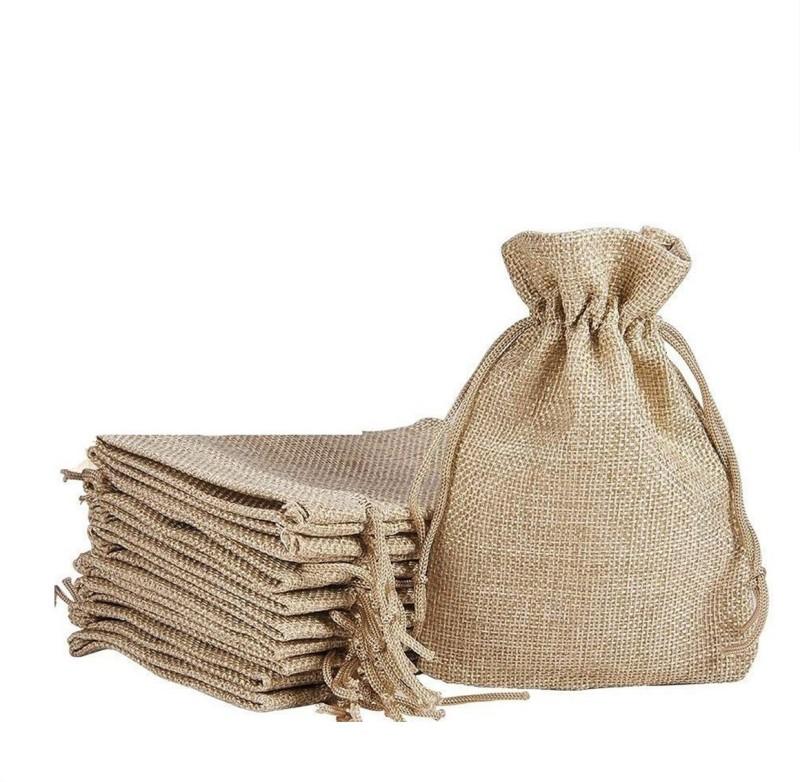 Lifekrafts Jute linen Potli Bags for Festival,Wedding,Party Return Gifts Bags,Pack of 100,Size-30cmx30cm Potli(Brown)