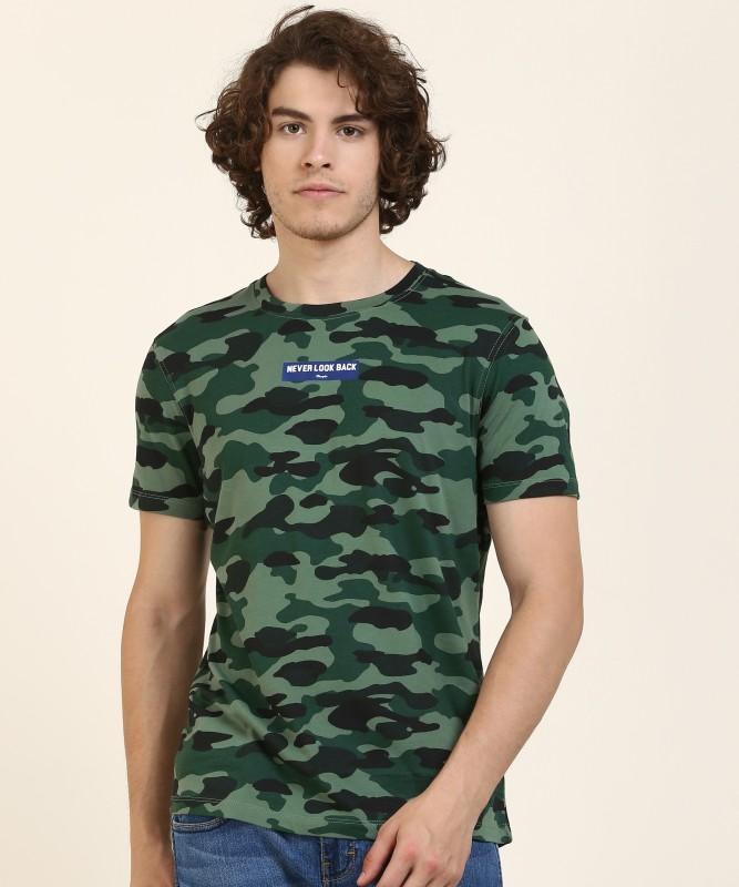 Wrangler Printed Men Round Neck Green T-Shirt