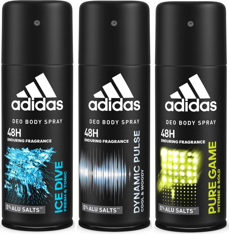 ADIDAS Deodorant Body Spray Combo (Pack of 3) Body Spray - For Men(450 ml, Pack of 3)