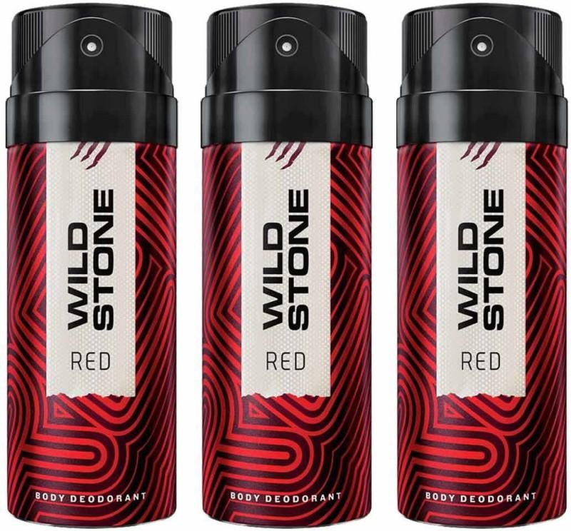 Wild Stone RED Deodorant Spray - For Men(450 ml, Pack of 3)