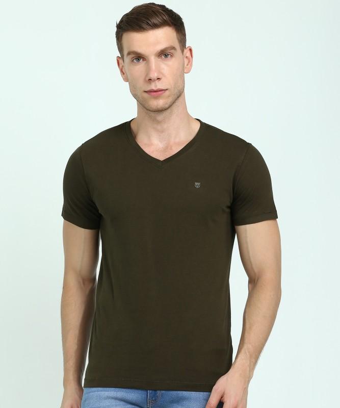 Wrangler Solid Men V Neck Dark Green T-Shirt