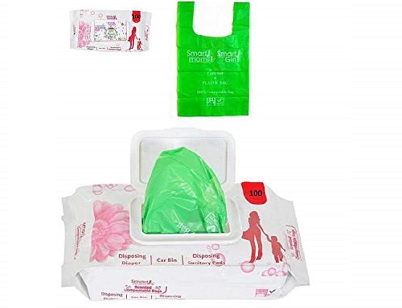 Lifekrafts Baby Diaper Disposal Bags,Compostable Diaper Bags Sacks, Sanitary Pad Bags, Diaper Disposal Bin (Pack 100) Diaper Disposal Bin(Gallon)
