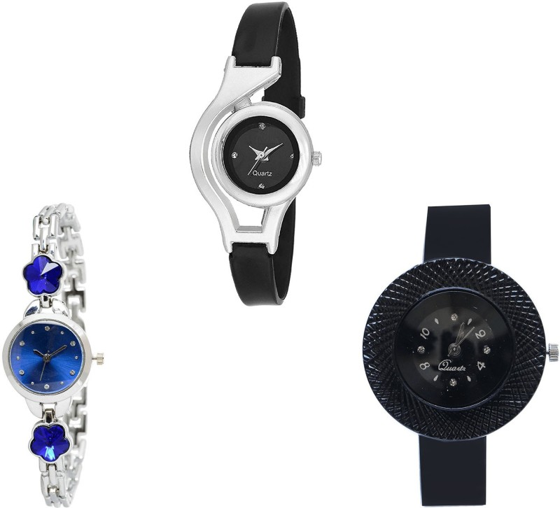 NIKOLA Treading Luxury World Cup, Flower Dimond And Chronograph Analogue Black And Silver Color Girls And Women Watch - G1-G338-G57 (Combo Of 3 ) combo watch Analog Watch  - For Girls