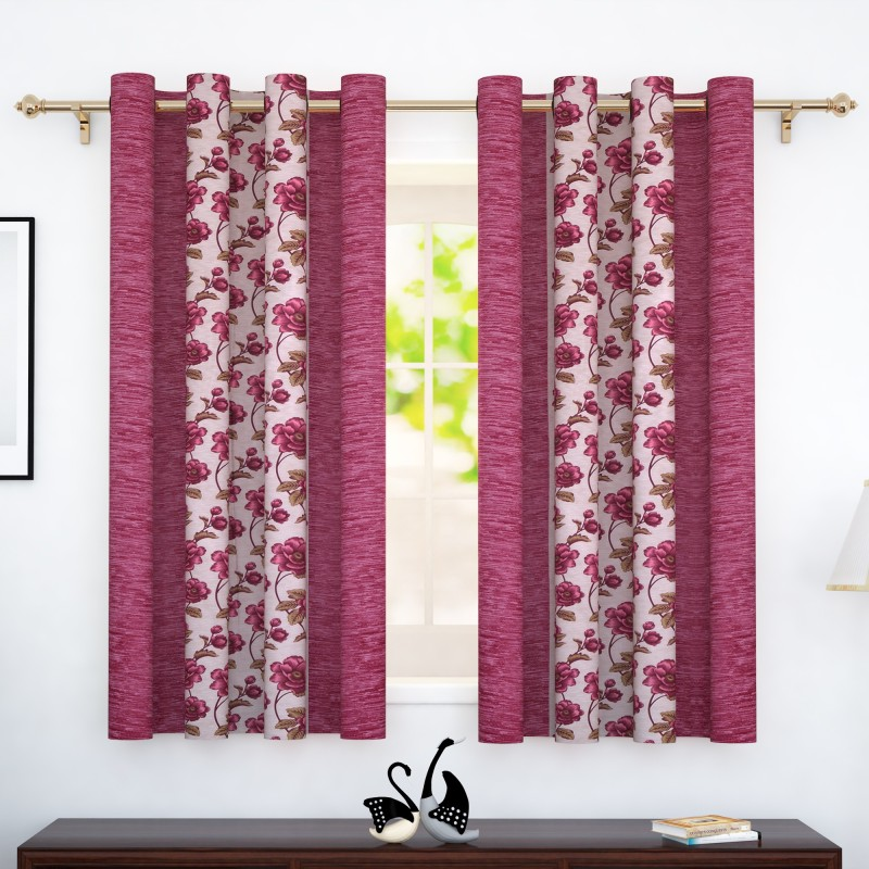 Story@Home 152 cm (5 ft) Polyester Window Curtain (Pack Of 2)(Floral, Pink)