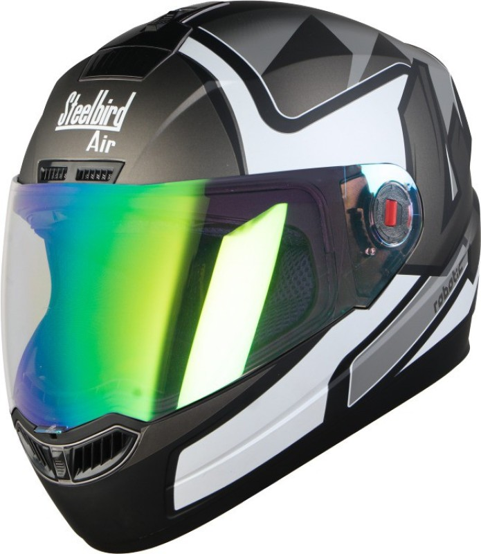 Steelbird SBA-1 Robotics Matt Black Grey with Night vision Rainbow visor Motorbike Helmet(Matt Black Grey with Night vision Rainbow visor)