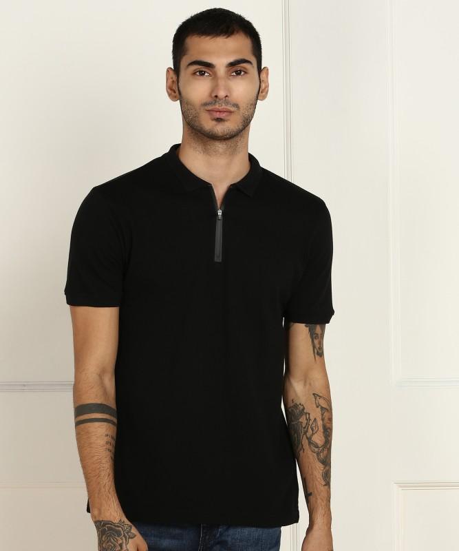 Louis Philippe Jeans Self Design Men Polo Neck Black T-Shirt