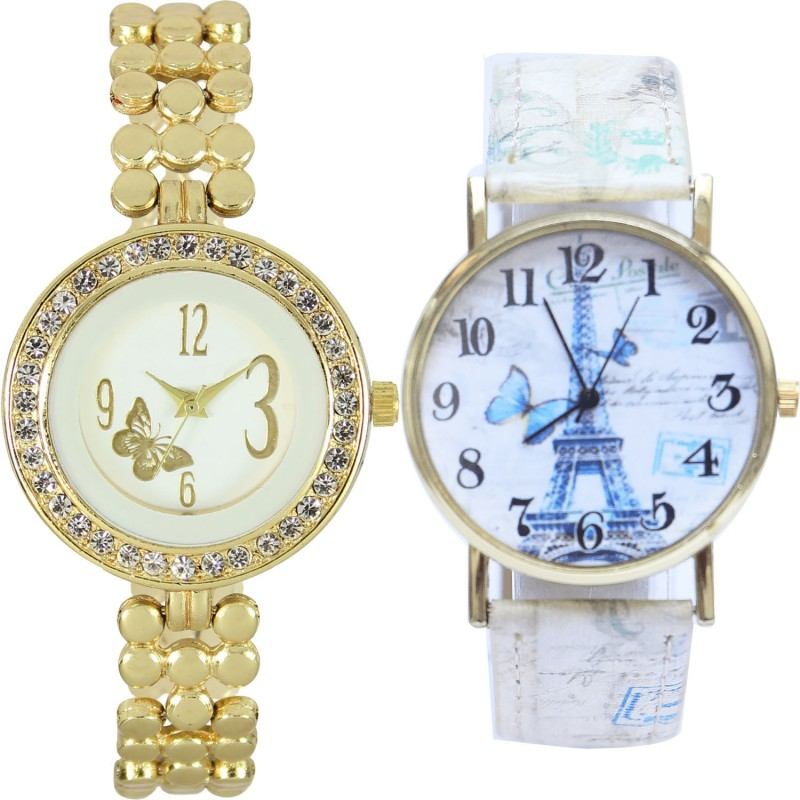 GROOT Classical Formal Butterfly And Paris Eiffel Tower Analogue Gold And Multicolor Girls And Women Watch - GL203-G263 (Combo Of 2 ) combo watch Analog Watch  - For Girls