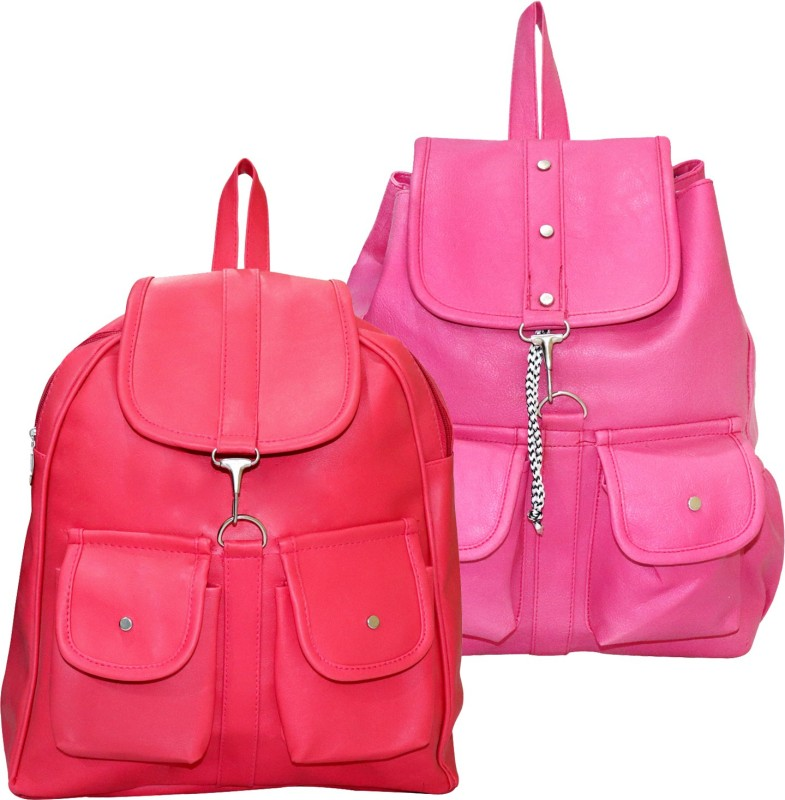 Stropcarry PU Leather Pink Backpack School Bag Student 15 L Backpack(Pink, Tan)