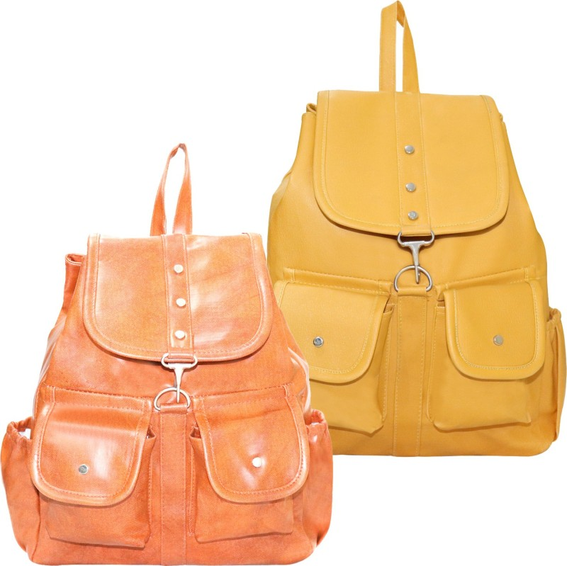Stropcarry PU Leather Pink Backpack School Bag Student 15 L Backpack(Yellow, Brown)